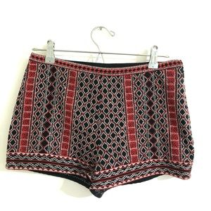 Embroidered red & black vintage high rise shorts
